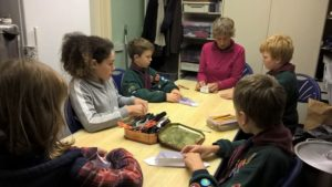 Cub Scouts doing craft activities